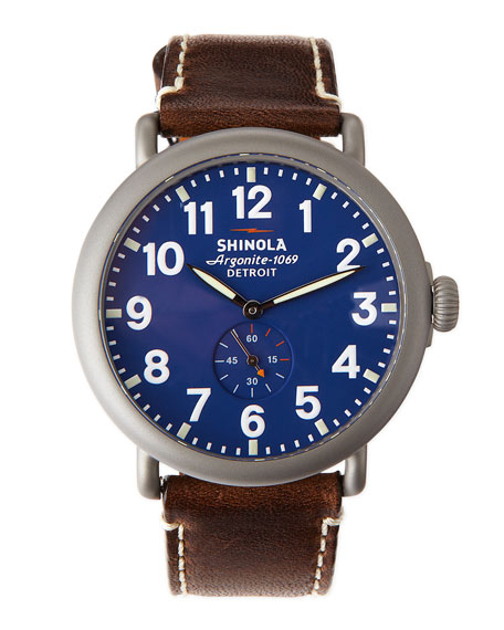 47mm Runwell Men's Watch, Blue/Brown