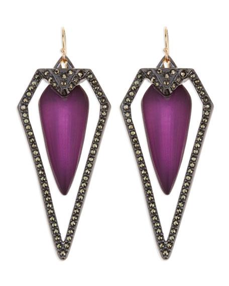 Santa Fe Deco Large Pave Earrings, Purple