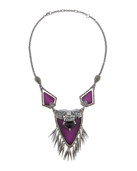 Santa Fe Deco Fringe Necklace, Purple