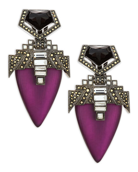 Santa Fe Deco Lucite Drop Clip Earrings, Purple