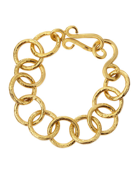 24k Gold Plate Classic Circle-Link Bracelet