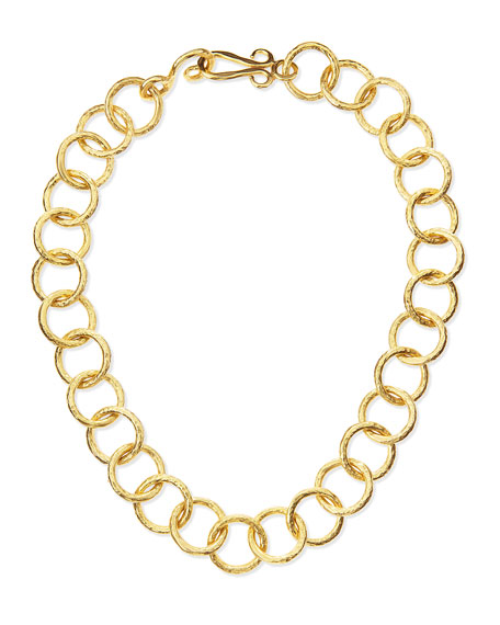 "Classic 24k Gold-Plate Circle-Link Necklace, 18""L"