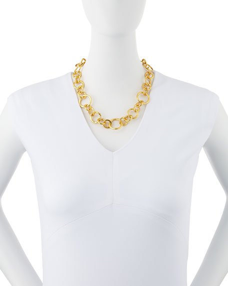 "Coronation 24k Gold Plate Large Necklace, 18""L"