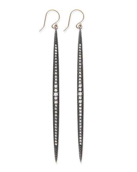 Shadow Silver Diamond Icicle Earrings