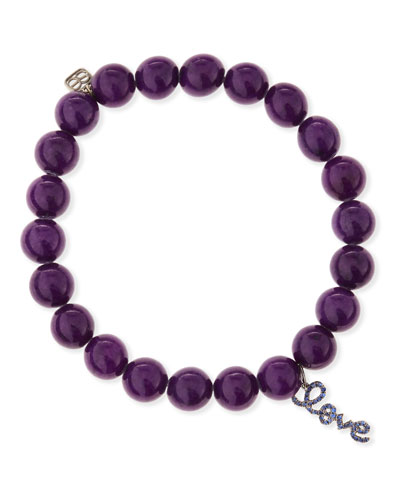 Sydney Evan Sapphire-Love Charm Beaded Jade Bracelet