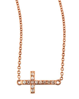 Sydney Evan Small 14k Rose Gold Pave Diamond Cross Necklace