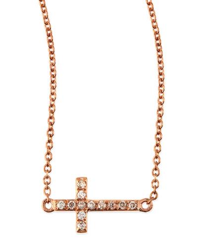 Sydney Evan Small 14k Rose Gold Pave Diamond Cross Necklace