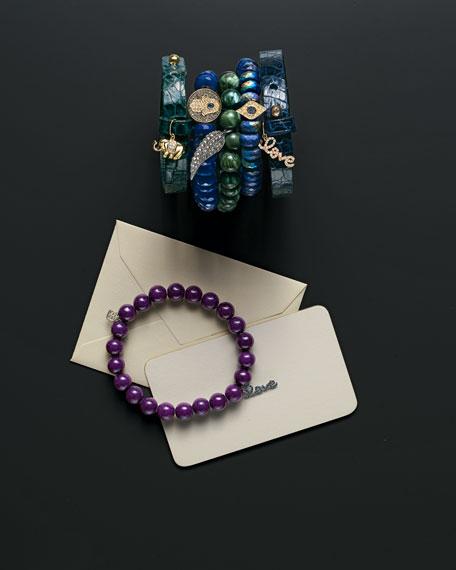 Diamond Hamsa Charm Chalcedony Bead Bracelet