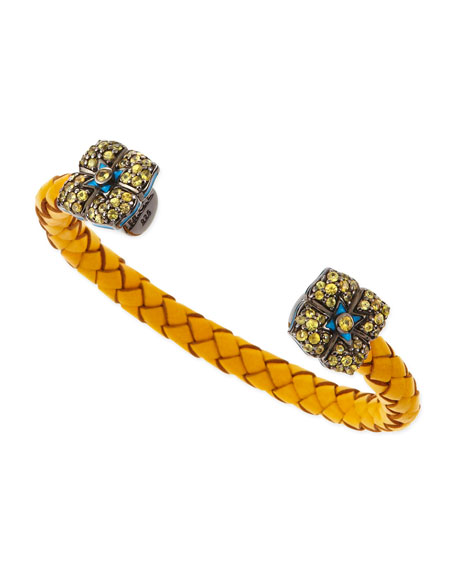 Sapphire-Flower Woven Leather Cuff, Yellow