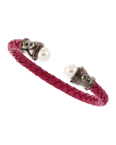 Pearl-Capped Woven Leather Cuff, Fuchsia
