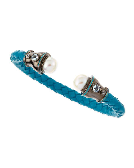 Pearl-Capped Woven Leather Cuff, Teal