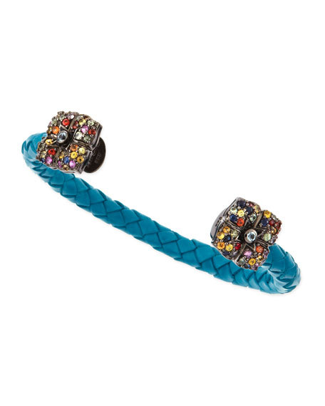 Sapphire-Flower Woven Leather Cuff, Blue