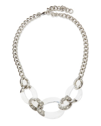 Large-Link Crystal Lucite Necklace, Clear