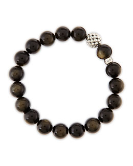 Lagos 10mm Caviar-Ball Obsidian Beaded Stretch Bracelet