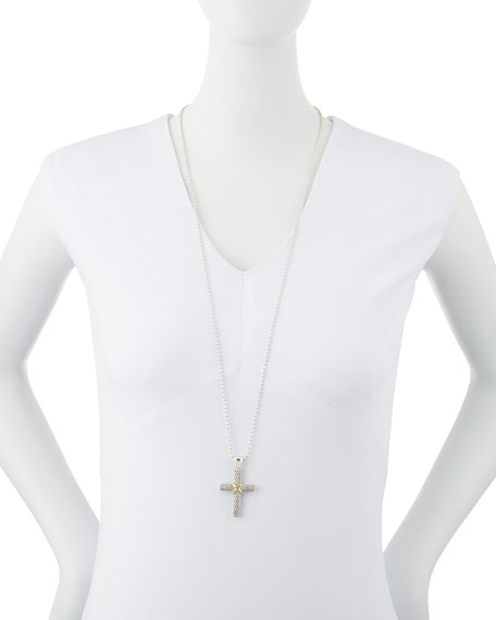 Silver Caviar 18k Gold-Detailed Cross Pendant Necklace
