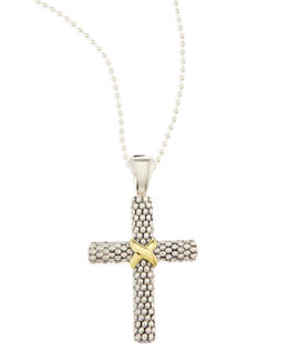 Lagos Silver Caviar 18k Gold-Detailed Cross Pendant Necklace