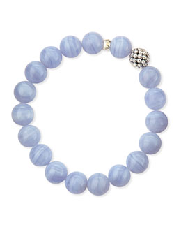 Lagos 10mm Caviar-Ball Blue Lace Agate Beaded Stretch Bracelet