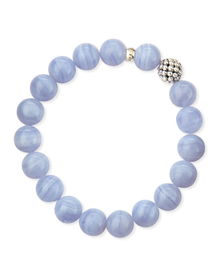 10mm Caviar-Ball Blue Lace Agate Beaded Stretch Bracelet