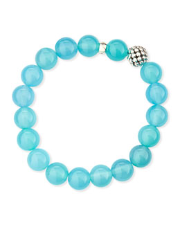 Lagos 10mm Caviar-Ball Blue Chalcedony Beaded Stretch Bracelet