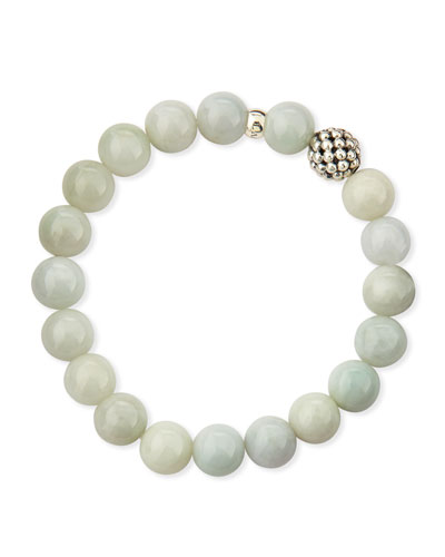 Lagos 10mm Caviar-Ball Burma Jade Beaded Stretch Bracelet