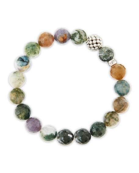 10mm Caviar-Ball Moss Agate Beaded Stretch Bracelet