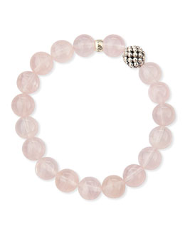 Lagos 10mm Caviar-Ball Rose Quartz Beaded Stretch Bracelet