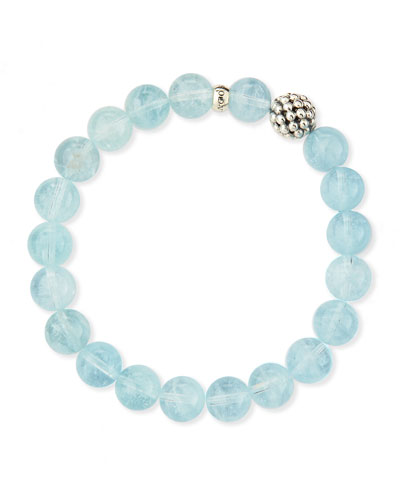 Lagos 10mm Caviar-Ball Aquamarine Beaded Stretch Bracelet