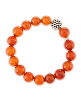 Lagos 10mm Caviar-Ball Garnet Beaded Stretch Bracelet