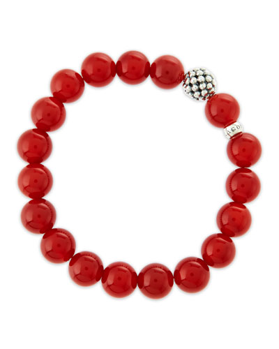 Lagos 10mm Caviar-Ball Red Agate Beaded Stretch Bracelet