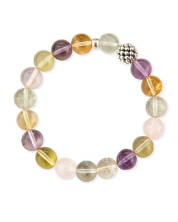 Lagos 10mm Caviar-Ball Mixed Quartz Beaded Stretch Bracelet