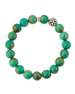 Lagos 10mm Caviar-Ball Turquoise Beaded Stretch Bracelet
