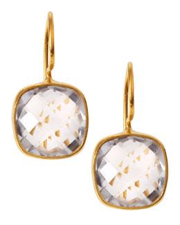 Dina Mackney Square Rock Crystal Drop Earrings