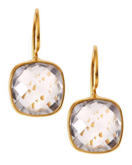 Square Rock Crystal Drop Earrings