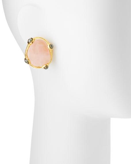 Pink Quartz Button Clip-On Earrings