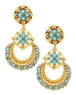 Jose & Maria Barrera 24k Gold Plate Chandelier Clip-On Earrings, Seafoam