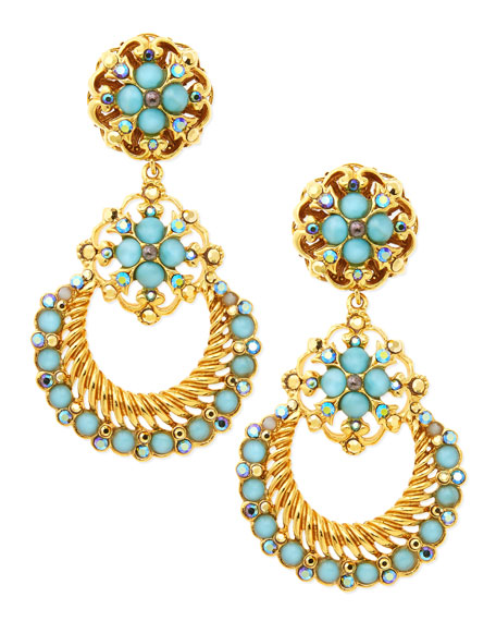 24k Gold Plate Chandelier Clip-On Earrings, Seafoam