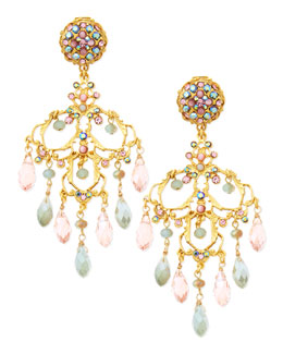 Jose & Maria Barrera 24k Gold-Plate & Mixed Crystal Chandelier Earrings, Pink/Mint