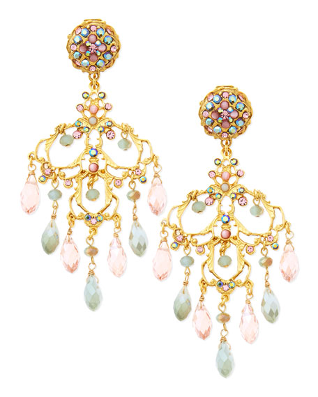 24k Gold-Plate & Mixed Crystal Chandelier Earrings, Pink/Mint