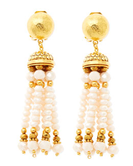 Jose & Maria Barrera Pastel Pink Tassel Clip-On Earrings