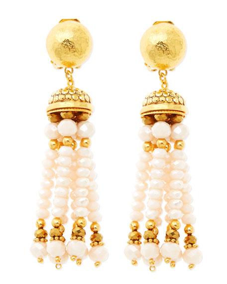 Pastel Pink Tassel Clip-On Earrings