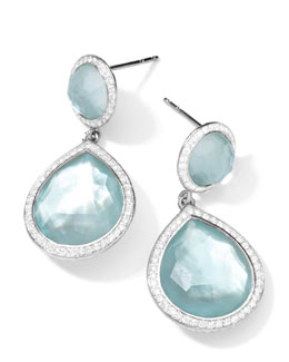 Ippolita Silver Stella 2-Stone Blue Topaz & Diamond Teardrop Earrings