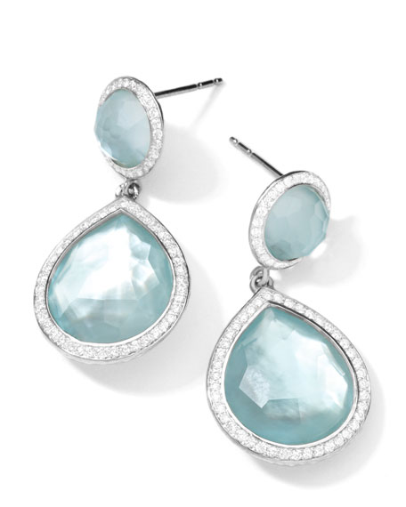 Silver Stella 2-Stone Blue Topaz & Diamond Teardrop Earrings