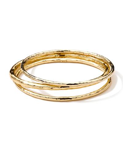 Ippolita Hammered 18k Gold Bangles, Set of 3