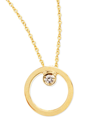 Roberto Coin 18k Yellow Gold Circle Single-Diamond Necklace