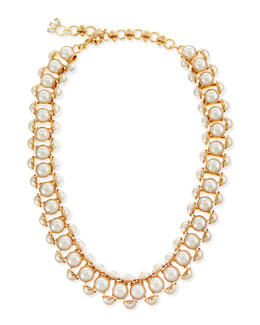 Lee Angel Deco Faux-Pearl Chain Necklace
