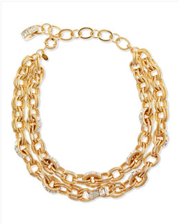 Lee Angel Double-Chain Pave-Link Necklace, Golden