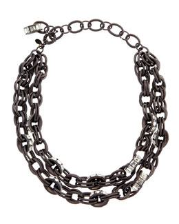 Lee Angel Double-Chain Pave-Link Necklace, Black