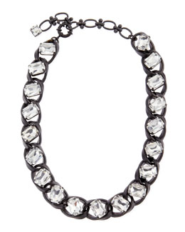 Lee Angel Clear Crystal Curb-Chain Necklace, Black