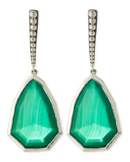 Stephen Dweck Small Sterling Silver Galactical Green Agate Drop Earrings