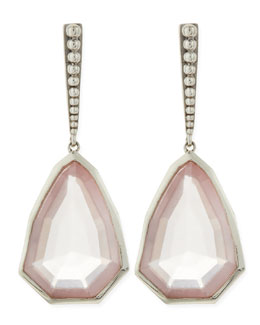 Stephen Dweck Small Sterling Silver Galactical Rose Quartz Earrings